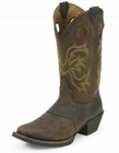 Justin Mens Stampede Punchy Dark Brown Rawhide With Saddle Boots 2523