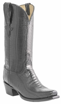 Mens Lucchese Classics Black Ostrich Leg Custom Hand-Made Boots L1447