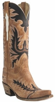 Womens Lucchese Classics Destroyed Pearwood Tan Goat Custom Hand-Made Western Boots L4741