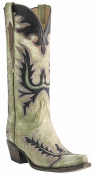 Womens Lucchese Classics Destroyed Verdigris Goat Custom Hand-Made Western Boots L4742