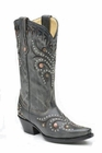 Ladies Corral Boots Black Gray Pull Up With Silver Studs G1012