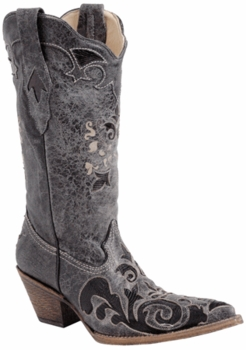 Ladies Corral Boots Black Vintage Lizard Overlay C2108