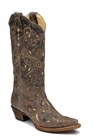 Ladies Corral Boots Brown Crater Bone Inlay and Studs A1098