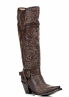 Ladies Corral Boots Brown Whip Stitch & Studs Tall Boot G1116