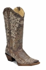 Ladies Corral Boots Crater Bone Embroidery A1094