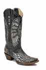 Ladies Corral Boots lds Black Bone White Wing and Cross A1018