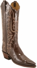 Ladies Lucchese Classics Antique Brown Patent Leather Custom Hand-Made Western Boots L4631
