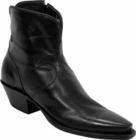 Ladies Lucchese Classics Black Buffalo Custom Hand-Made Side Zip Pony Boots F5040