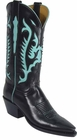 Ladies Lucchese Classics Black Buffalo Custom Hand-Made Western Boots L4579