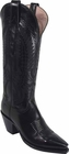 Ladies Lucchese Classics Black Buffalo Leather Custom Hand-Made Tall Boots L4583
