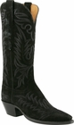 Ladies Lucchese Classics Black Cashmere Suede Custom Hand-Made Western Boots L4666