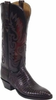 Ladies Lucchese Classics Black Cherry Lizard Custom Hand-Made Western Boots L4029