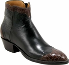 Ladies Lucchese Classics Black Italian Calf Leather Custom Hand-Made Side Zip Botin Boots F5035