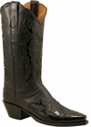 Ladies Lucchese Classics Black Wingtip Calf Custom Hand-Made Western Boots L4702