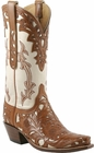 Ladies Lucchese Classics Bone Hand Tooled Western Boots L4682