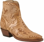 Ladies Lucchese Classics Caramel Tooled Leather Custom Hand-Made Side Zip Botin Boots F5469