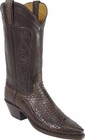 Ladies Lucchese Classics Chocolate Burnished Matte Python Snake Custom Hand-Made Western Boots L4096