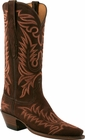 Ladies Lucchese Classics Chocolate Cashmere Suede Custom Hand-Made Western Boots L4668