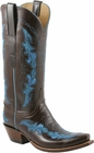Ladies Lucchese Classics Chocolate With Inlay Calf Custom Hand-Made Western Boots L4686