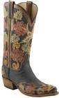 Ladies Lucchese Classics Destroyed Black Buffalo Custom Hand-Made Western Boots L4690