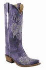 Ladies Lucchese Classics Destroyed Purple Ruffle Hand-Made Western Boots L4689