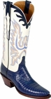 Ladies Lucchese Classics Navy Blue Lizard Custom Hand-Made Western Boots L4073