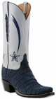 Ladies Lucchese Classics NFL Dallas Cowboys Navy Suede Caiman Custom Hand-Made Cowboy Boots L4153