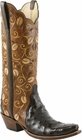 Ladies Lucchese Classics Nicotine Full Quill Ostrich Embellished Custom Hand-Made Western Boots L4142