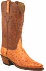 Ladies Lucchese Classics Orange Burnished Quill Ostrich Custom Hand-Made Western Boots L4123