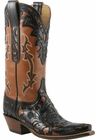 Ladies Lucchese Classics Pearwood Hand Tooled Goat Western Boots L4684