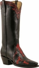 Ladies Lucchese Classics Red And Black Wingtip Calf Custom Hand-Made Western Boots L4658