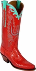 Ladies Lucchese Classics Red Lizard Custom Hand-Made Western Boots L4074