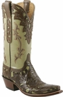 Ladies Lucchese Classics Sage Goat Hand Tooled Western Boots L4683
