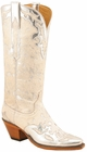 Ladies Lucchese Classics Silver Metallic Hair On Calf Custom Hand-Made Western Boots L4662