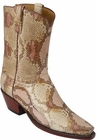 Ladies Lucchese Classics Tan Dunes Handpainted Python Snake Custom Hand-Made Western Boots L4080