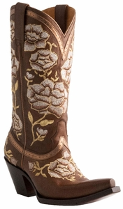 Lucchese Ladies Floral Torero Whiskey Leather Cowgirl Boots M4857