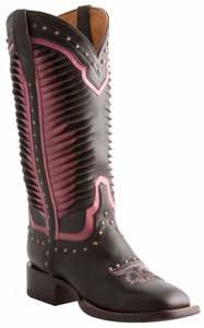 Lucchese Ladies Twisted Leather Pink & Chocolate Tall Boots M4871