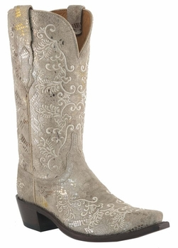 Lucchese Ladies Stone Python Print Cowgirl Boots M4715