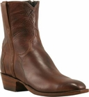 Mens Lucchese Classics Antique Brown Florence Buffalo Calf Custom Hand-Made Side Zip Pony Boots F5053