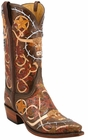 Mens Lucchese Classics Barbed Wire Hand Tooled Leather Custom Hand-Made Cowboy Boots L1358