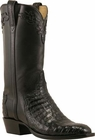 Mens Lucchese Classics Black Caiman Crocodile Belly Custom Hand-Made Cowboy Boots L1390