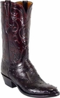 Mens Lucchese Classics Black Cherry Full Quill Ostrich Custom Hand-Made Cowboy Boots L1191