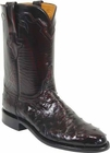 Mens Lucchese Classics Black Cherry Quill Ostrich Custom Hand-Made Roper Boots L3083