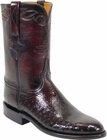 Mens Lucchese Classics Black Cherry Smooth Ostrich Custom Hand-Made Roper Boots L3138
