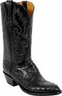 Mens Lucchese Classics Black Full Quill Ostrich Custom Hand-Made Cowboy Boots L1177