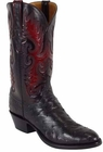 Mens Lucchese Classics Black Full Quill Ostrich Custom Hand-Made Cowboy Boots L1178