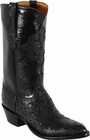 Mens Lucchese Classics Black Full Quill Ostrich Custom Hand-Made Cowboy Boots L1189