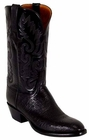 Mens Lucchese Classics Black Smooth Ostrich Custom Hand-Made Cowboy Boots L1201