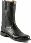 Mens Lucchese Classics Black Ultra Belly Crocodile Custom Hand-Made Roper Boots L3150
