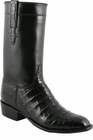 Mens Lucchese Classics Black Ultra Belly Crocodile with Regal Cord Custom Hand-Made Leather Boots L9475